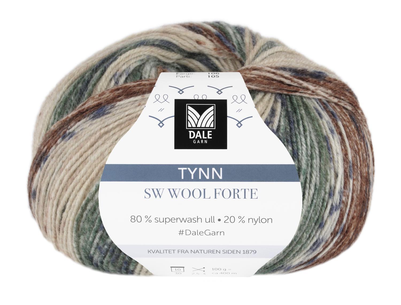 Tynn SW Wool Forte Beige/Rød 100 gr