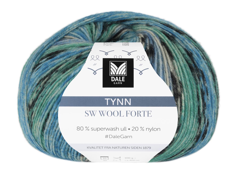 Tynn SW Wool Forte Denim/Grønn 100 gr
