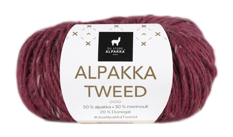 Alpakka Tweed - Dyp rød