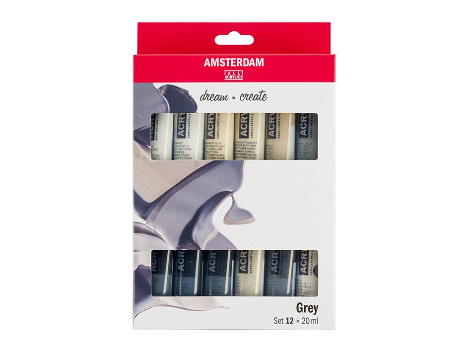 Amsterdam Standard 20ml - Gråtoner Sett 12ass