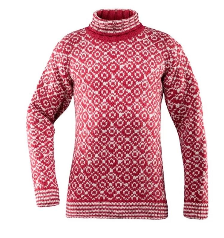 Devold, Svalbard Sweater High Neck, Hindberry/Offwhite, Unisex Ullgenser