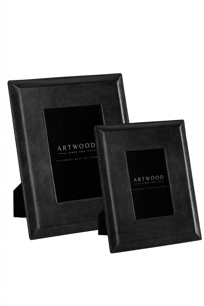 MENDOZA Photo frame 2-set leather black