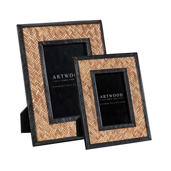 FABRIANO Photo frame 2-set rattan/leather black