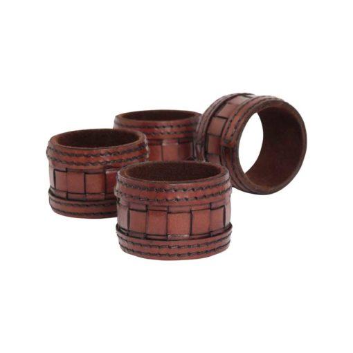 HALVOR BAKKE Serviettring skinn brunsort 4 pk gaveeske brunsort
