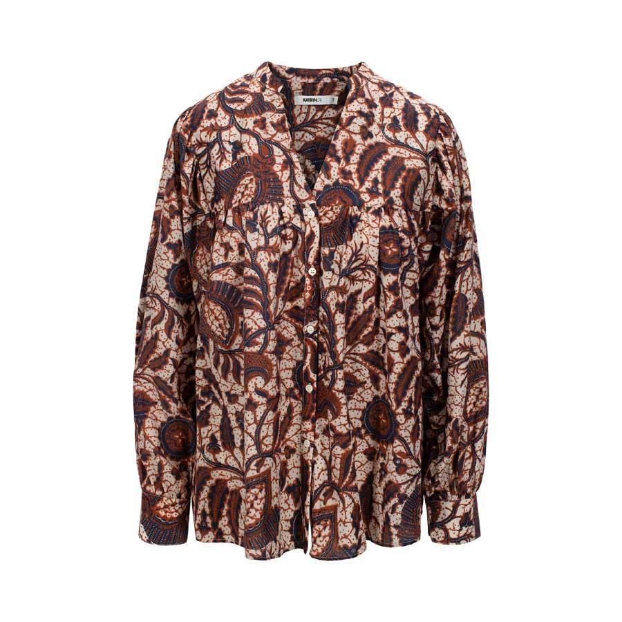 URI bluse Leah Batik ivory cognac