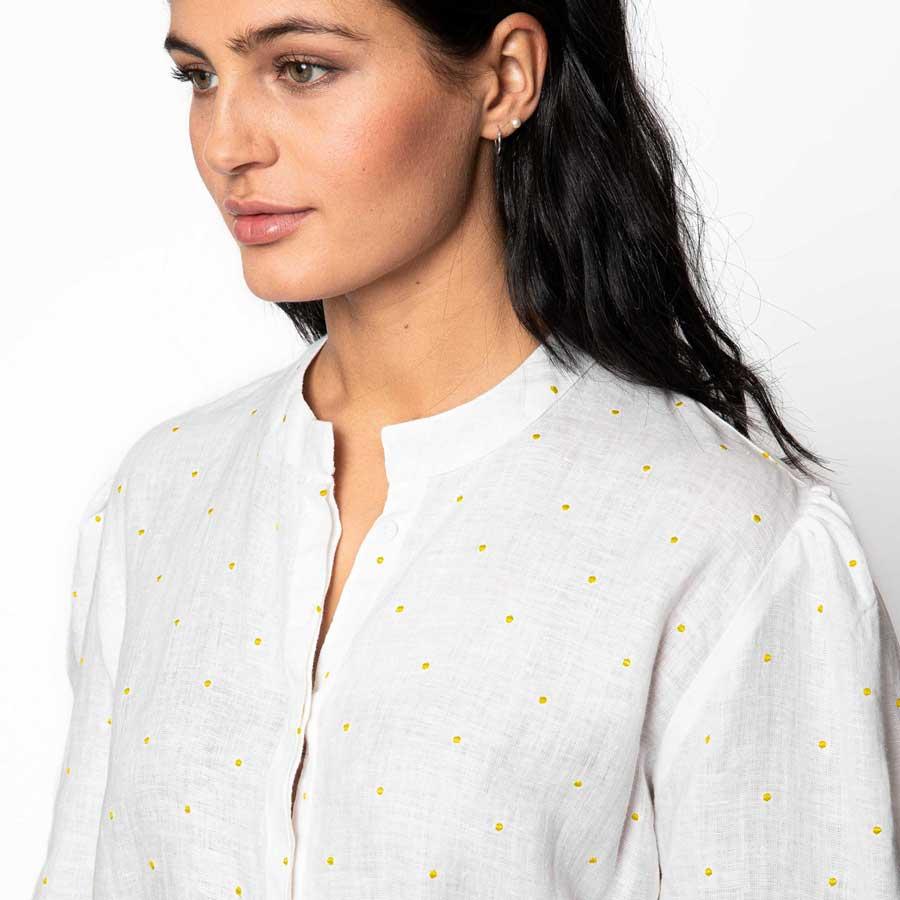 FLEISCHER COUTURE skjorte m/gule prikker Linen white