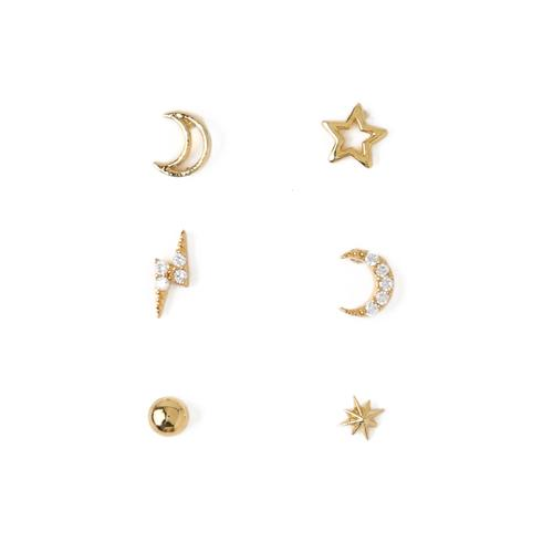 ORELIA øredobber Celestial Stud 6 Pack Ear Party