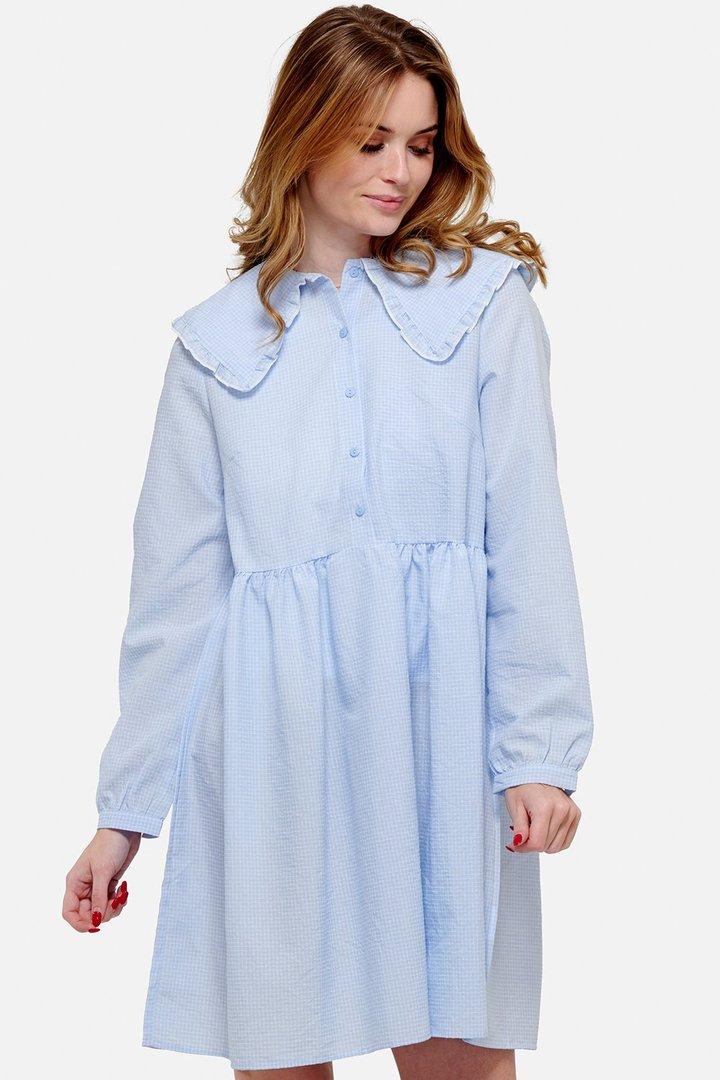 NOELLA kjole Dania blå/hvit ruter