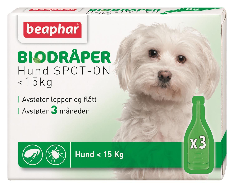Biodråper SPOT-ON hund mindre 15kg