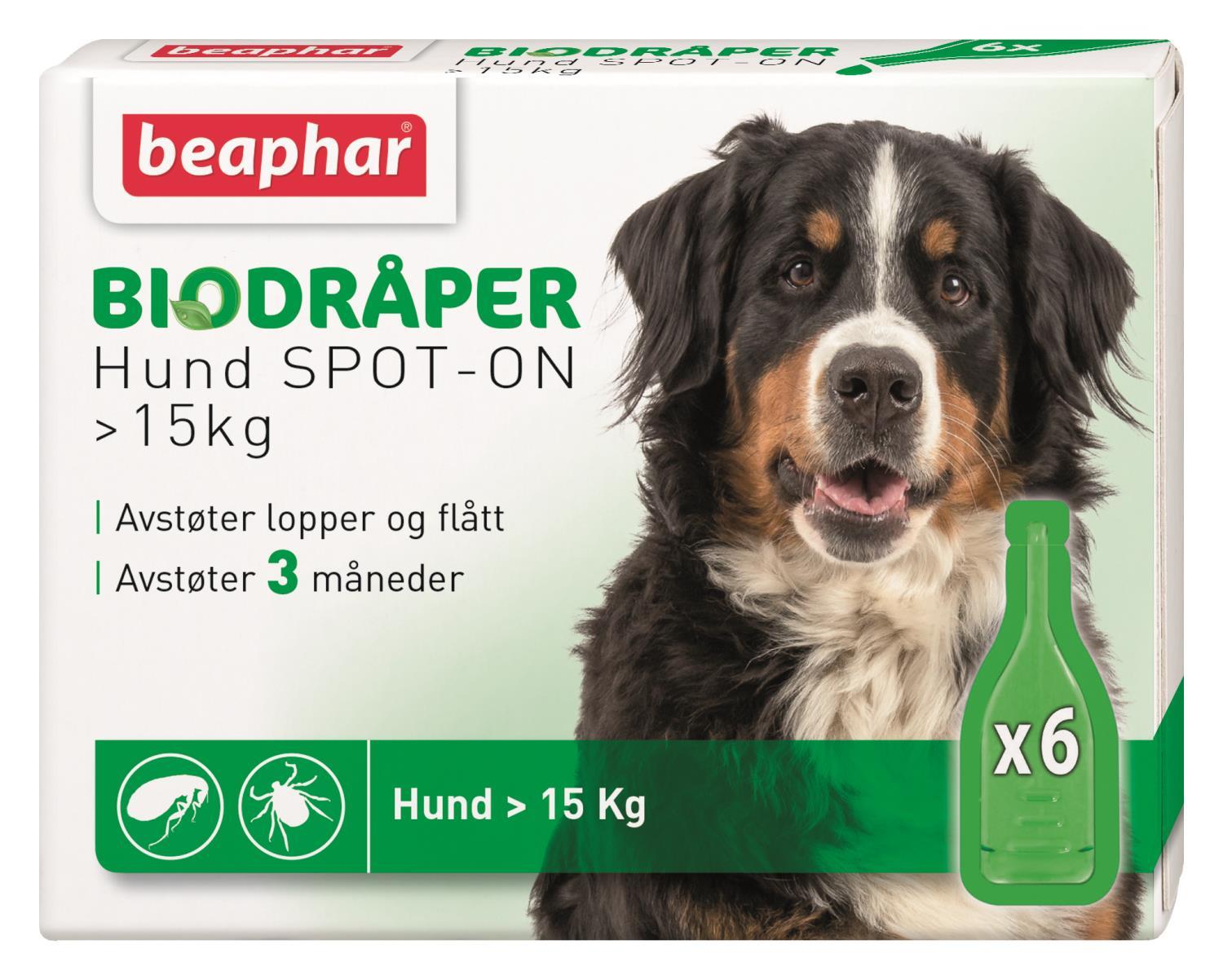 Biodråper SPOT-ON hund større 15kg