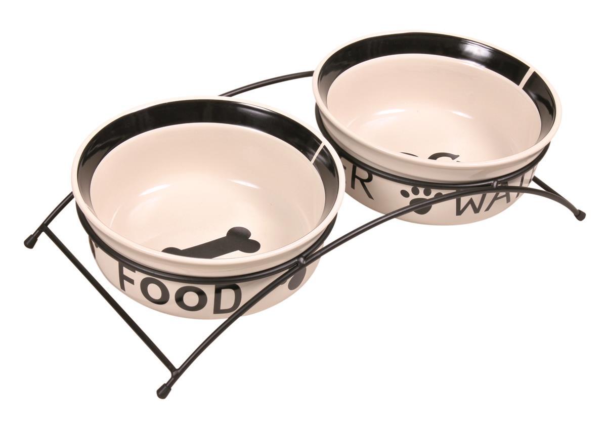 Hundeskål keramikk m/stativ 2 stk 1,6L