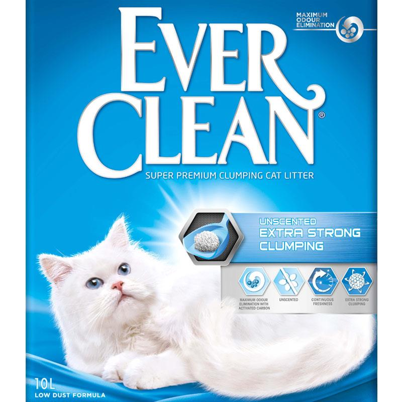 Ever clean kattesand Extra Strong clumping unscented (blå) 10L
