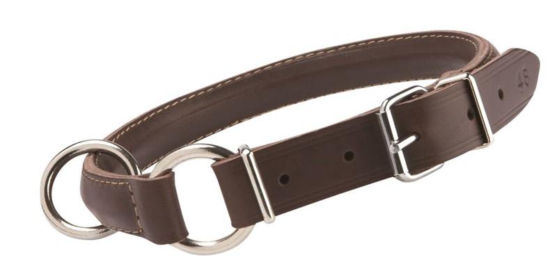 Halsbånd lær Halvrundt strup mørkbrun 51cm