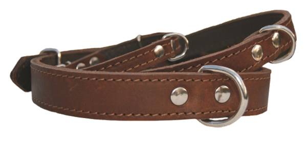 Halsband lær fettet brun m/fòr 35cm 12mm