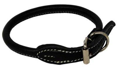 Halsbånd rundsydd lær m/hvit søm 4mmx25cm