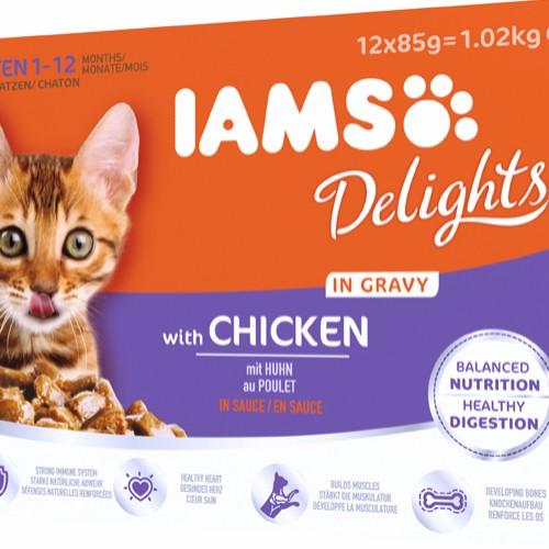 Iams Delight Kitten kylling 12x85g gravy