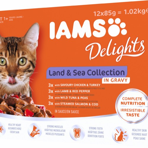 Iams Delight land and sea collection 12x 85g gravy