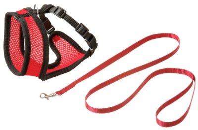 Kattesele netting med kobbel L rød/svart