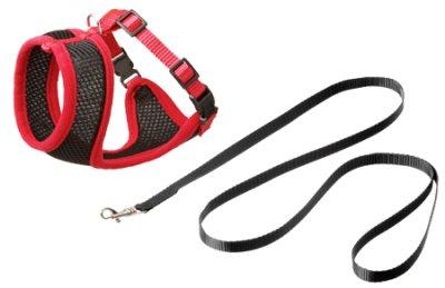 Kattesele netting med kobbel M svart/rød