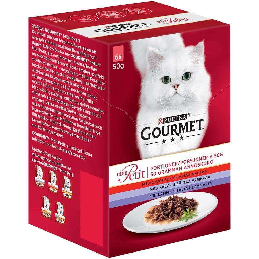 Gourmet monpetit 6x50g oksekjøtt/kalvekjøtt/lam