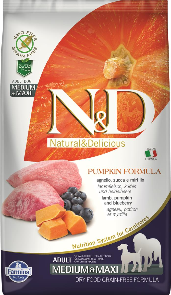 Farmina N&D Lamb,pumpkin and blueberry medium/maxi adult 2,5 kg