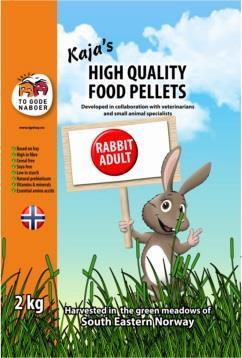 Kaninpellets Kaja's kanin adult pellets 2 kg To gode naboer
