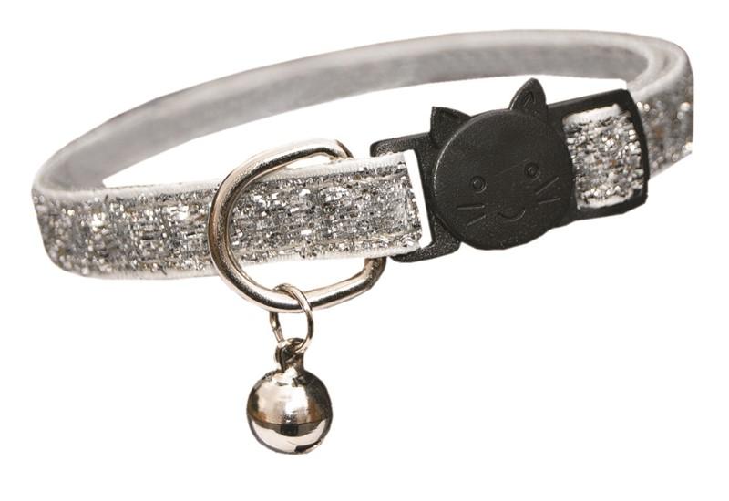 Trine Kattehalsbånd glitter Sølv