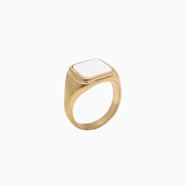 Signet ring m/ hvit sten