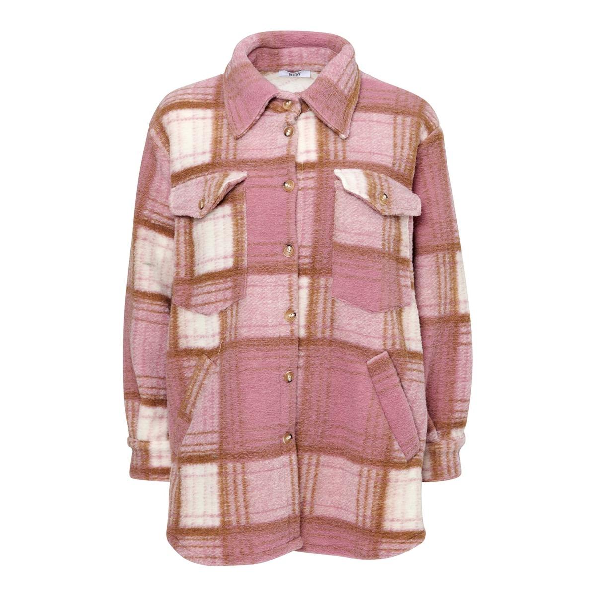 Valley Short Coat Checked, Rose/Camel, Tiffany