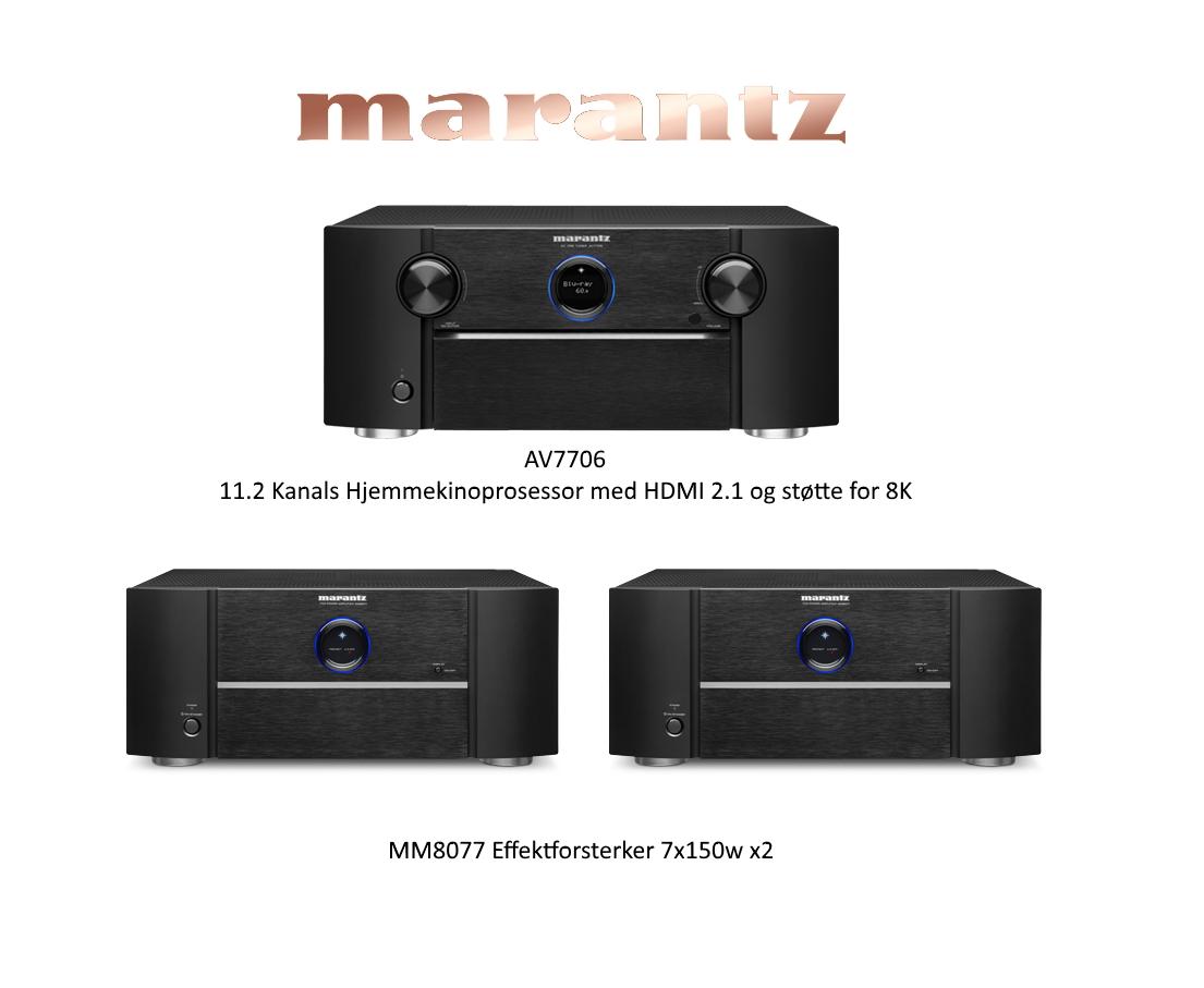 Seriøs hjemmekinopakke for entusiasten Marantz AV7706 med MM8077